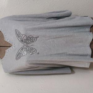 2xl half sleeve t-shirt with rhinestones